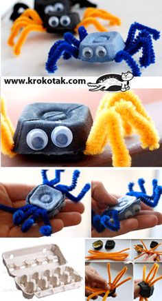 Colorful SPIDERS from Egg Cartons