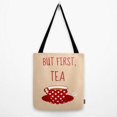 Borsa di tela  but first tea  tazza a pois rossi di StravaganzaArt, $35.00