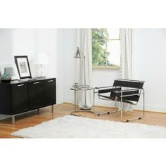 Wassily Style Black Leather Accent Chair