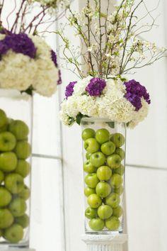 Apples. purple. white.  Floral Design by harveydesigns.com
