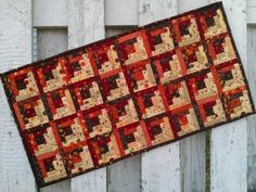 Log Cabin Table Runner - Fall (TGTRK) by cedarpointdesigns for $42.00