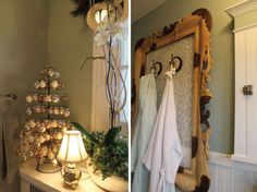 Frame Towel Hooks with an Ornate Vintage Frame and Lace!
