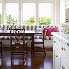 always stylish: big bold stripes on a window seat cushion