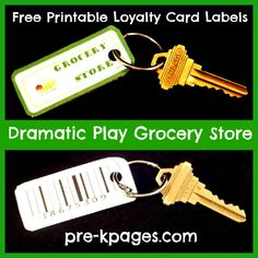 Free Printable Dramatic Play Grocery Store Loyalty Card Labels via www.pre-kpages.com loyalti card, card label