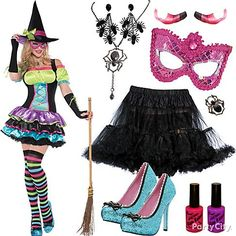 Be-witching! A black petticoat, spider jewelry, mask and bedazzled heels take your look from witch-in-training to sexy spellcaster. #BeACharacter
