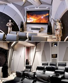 I am aware that the point of a mancave is to be free of woman... but you make a cave like this, and it will be raided by me. lol. this is awesome theater room, home theaters, stars, starwar, star wars, theatr, media room, homes, man caves