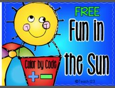 FREE Color by Code: Addition and Subtraction - Fun in Sun #TPT #Free