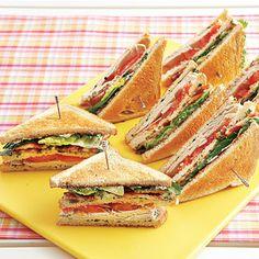 Turkey Club Sandwiches with Herb Mayonnaise #recipe