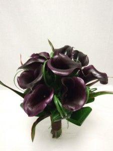 Black calla lilies wedding bouquets