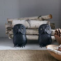 Cast Iron Owl Fireplace Andirons with birch logs