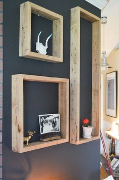 Rustic reclaimed floating shelves floating shelves, black walls, wall displays, shadow box, pallet, recycled wood, old frames, wooden boxes, decorating walls