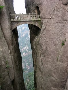 Buxian Bridge, aka Fairy Walking Bridge, Xihai Grand Canyon, Huangshan, China