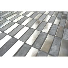 Stainless Steel Tile-Stainless Steel Bricks And Gray Marble Mosaic Tile