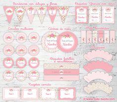 Kit Shabby Chic para imprimir con textos editables kit para fiestas