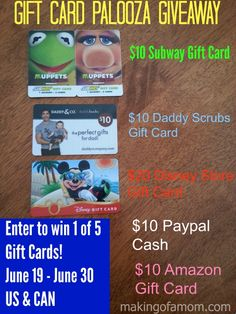 Gift Card Palooza Giveaway;  Enter to win 1 of 5 Gift cards including Disney, Subway, Paypal, Amazon and Daddy Scrubs!