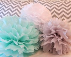 Cute colors. Sawyer Collection - 5 Pom poms- Craft show booth decoration/ baby shower hanging decoraiton/ nursery mobile/ party decoration on Etsy, $22.00