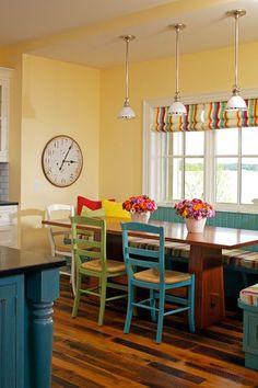 traditional kitchen by Zahn Builders Inc. traditional kitchens, color, kitchen booths, butter yellow kitchen walls, tradit kitchen