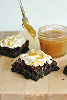 Dark Chocolate Brownies, Salted Caramel Frosting & Homemade Caramel Sauce:recipe for #caramel sauce! @Liting Mitchell Mitchell Mitchell Mitchell Mitchell Mitchell Mitchell Wang Sweets