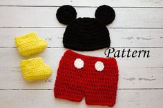 Crochet PATTERN - Newborn to 12 months Mickey Mouse shorts set Photo Prop Set -Instant Download PDF- Photography Prop Pattern on Etsy, $5.00