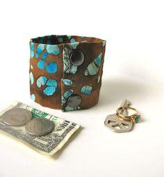 Money Cuff Wrist Wallet Secret Stash  brown/blue by bluepiedesigns, $15.00