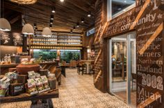 The architecture and design of Starbucks' first international Community Store in Bangkok, Thailand acts as a symbol of the relationship that Starbucks has with the coffee farm tribes in Northern Thailand. vintag deco, starbuck store, industri deco