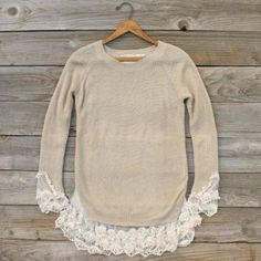 Add lace detail at and hem of sweater for a refashion look (use tulle)