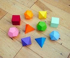 3d shapes printables- love the bright colors..go to the bottom of the post for the free shape downloads.