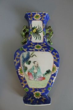 Antique Chinese porcelain Famille Rose Wall Pocket / Vase