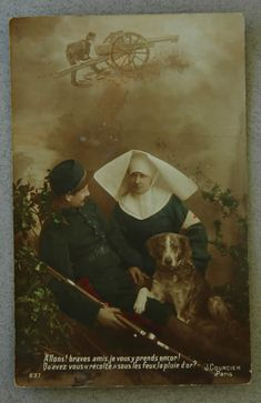 WW1 Red Cross nurse and dog ww1 dog, vintag dog