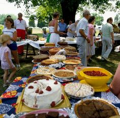 "A photo of cakes and pies at a family reunion in Mayodan, North Carolina. Credit: Carol M. Highsmith; Library of Congress. Read more on the GenealogyBank blog: ""30 Activities, Games & Ideas for Family Reunion Fun!"" http://blog.genealogybank.com/30-activities-games-ideas-for-family-reunion-fun.html"