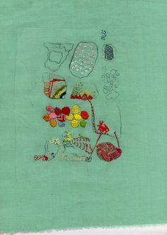 Embroidery and etching by Lindsey McDougall.
