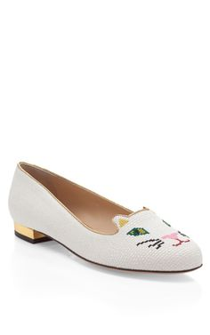 Off White Kitty Flat by Charlotte Olympia