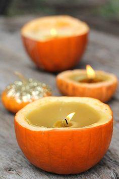 DIY Pumpkin Candles = genius. | #Halloween
