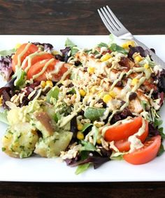 BBQ Chicken Salad Recipe on twopeasandtheirpod.com. Love the flavors in this salad! #salad