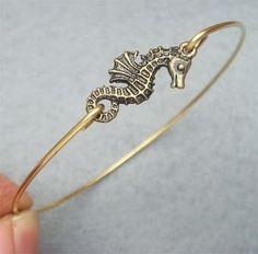 Seahorse Bangle Bracelet Style 2 by turquoisecity on Etsy