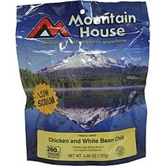 Chicken and White Bean Chili. Mountain House just-add-water meals are a favorite of outdoorsy types and preppers. $6.95 mountain houses, meal, bean chili