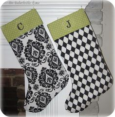 black & white Christmas stockings