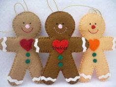 Gingerbread, Felt Christmas Ornament - Set of 3