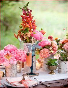 4 Pink Coral Orange, Party Inspiration, Decor, Decorations, Poms, Flowers, Arrangements, Centerpieces, Bridal Shower, Baby Shower, Birthday, Tea Party