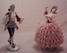 Vintage Dresden Porcelain Figurines Dancers Lady and Man