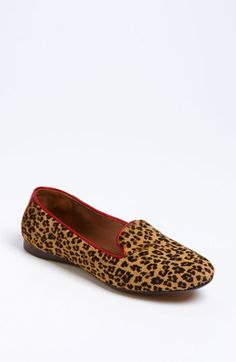 these Cheetah print loafers by Donald J Pliner with a red accent look comfy!