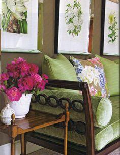 gray walls, botanical prints