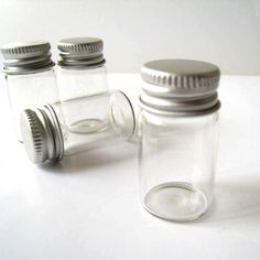5pcs Clear Glass Bottle Vial Miniature with by Finding Supplies