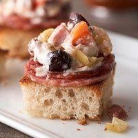 Muffuletta Dip  (Slow Cooker recipe)  pickled veggies, cream cheese, provolone, ham, olives, salami appetizers