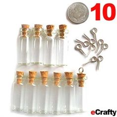 """ECRAFTY.COM ~ DIY Mini Bottle Charms KIT ~ 10 pack of mini glass bottles with 10 eye screws to make into charms or pendants. 28mm or 1.1"""" tall each, about 1.25"""" tall with cork. Bottle Diameter (Inside): 5 mm. You can fill these with small items measuring approx. 4mm or 1/6"""" wide or less. Convert these into instant earrings, charms & pendants using our the included eye screws, or use eye pins, screw pins, or wire wrapping. #ecrafty @ecrafty http://www.ecrafty.com/c-517-mini-glass-bottles.aspx"""