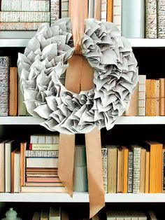 christmas wreaths, paper wreaths, ribbons, colors, book pages, ribbon wreaths, leaves, magnolia, old books