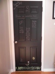 Chalk board paint on the garage door..! Memos or I love you's ❤ great idea...