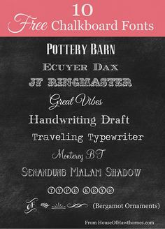 10 FREE fonts that look great on a chalkboard. She also includes a tutorial on how to use PicMonkey to create chalkboard printables on your computer!