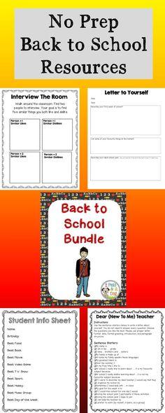 Fantastic NO prep first week of school activities. ($2.00)