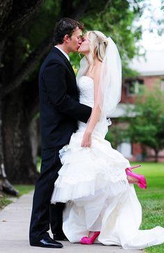 wedding dressses, idea, wedding shoes, colors, pink weddings, blue shoes, heels, something blue, pink shoes
